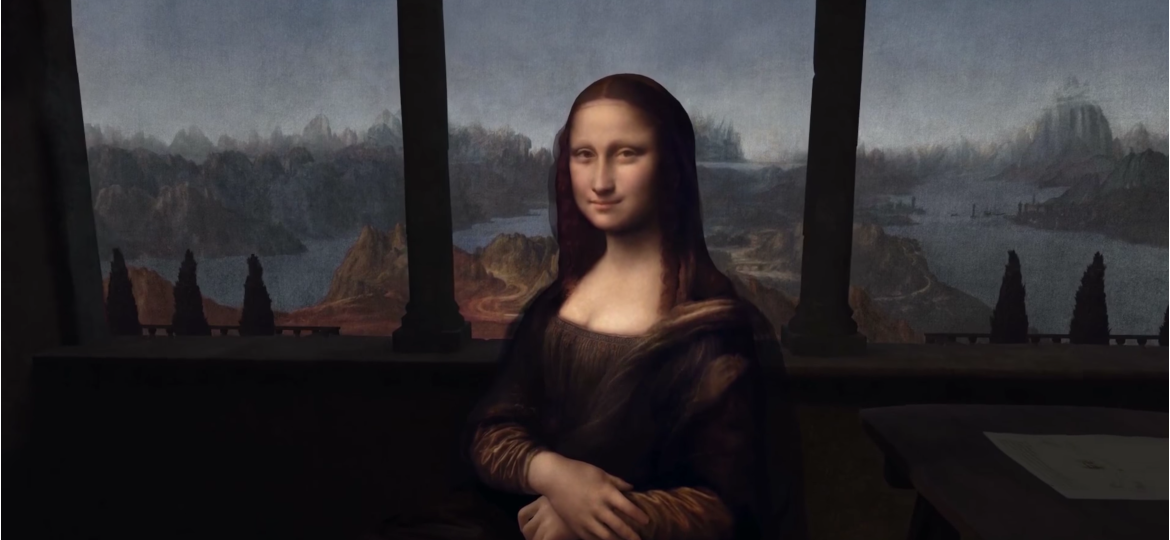 Mona Lisa painting in augmented reality