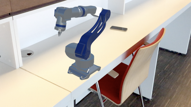 Augmented reality mechanical arm on table