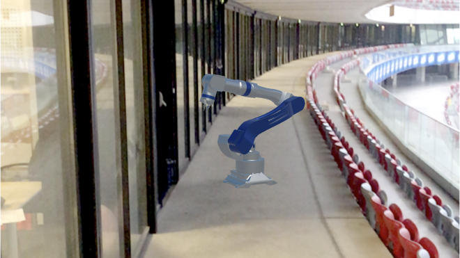 Augmented reality mechanical arm on stadion narowody Warsaw
