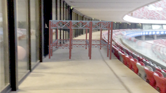 Augmented reality scaffolding on stadion narodowy