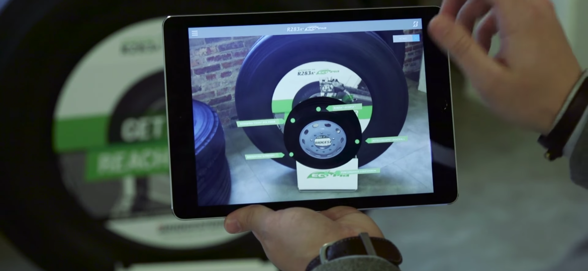 Augmented Reality tires shown on tablet