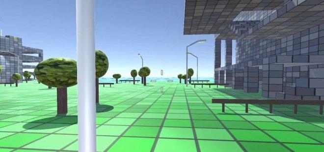 Cube town landscape trees VR MojoApps