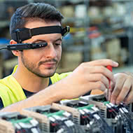 man working in aumented googles
