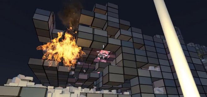 Cube town in night fire VR MojoApps
