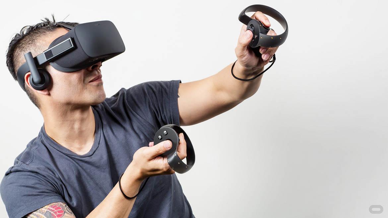 Man in Virtual reality headset oculus rift