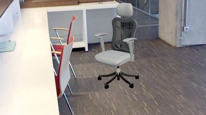 Augmented reality grey office chair