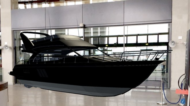 Augmented reality blak yacht in building