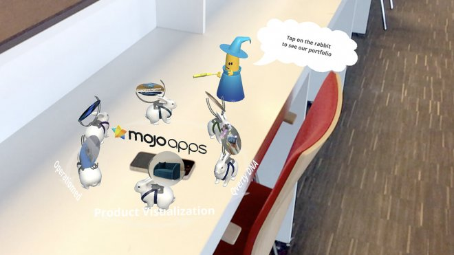 AR Augmented reality Mojo Apps man on table