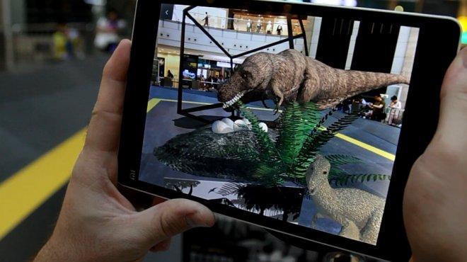 Augmented reality dynosaur