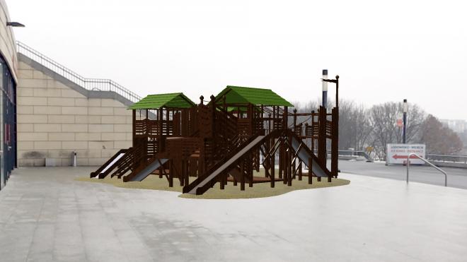 Big Augmented reality playground on street near National Stadium Warszaw
