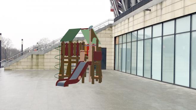 Small Augmented reality playground on street near National Stadium Warszaw