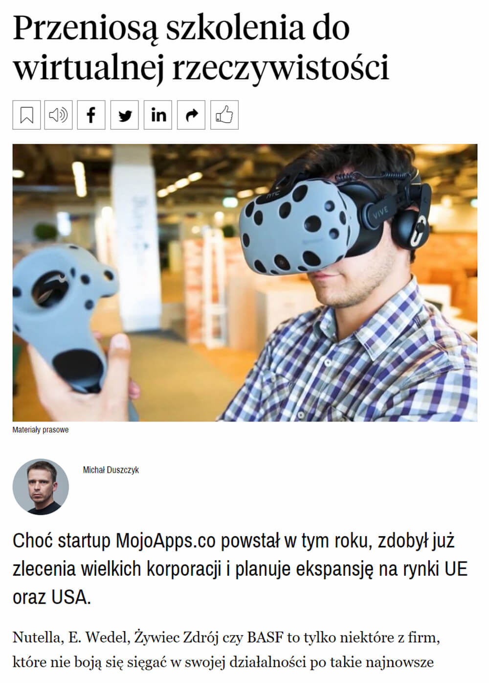 media article about MojoApps