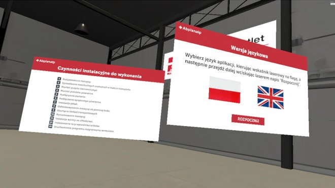 Virtual reality language choose panel
